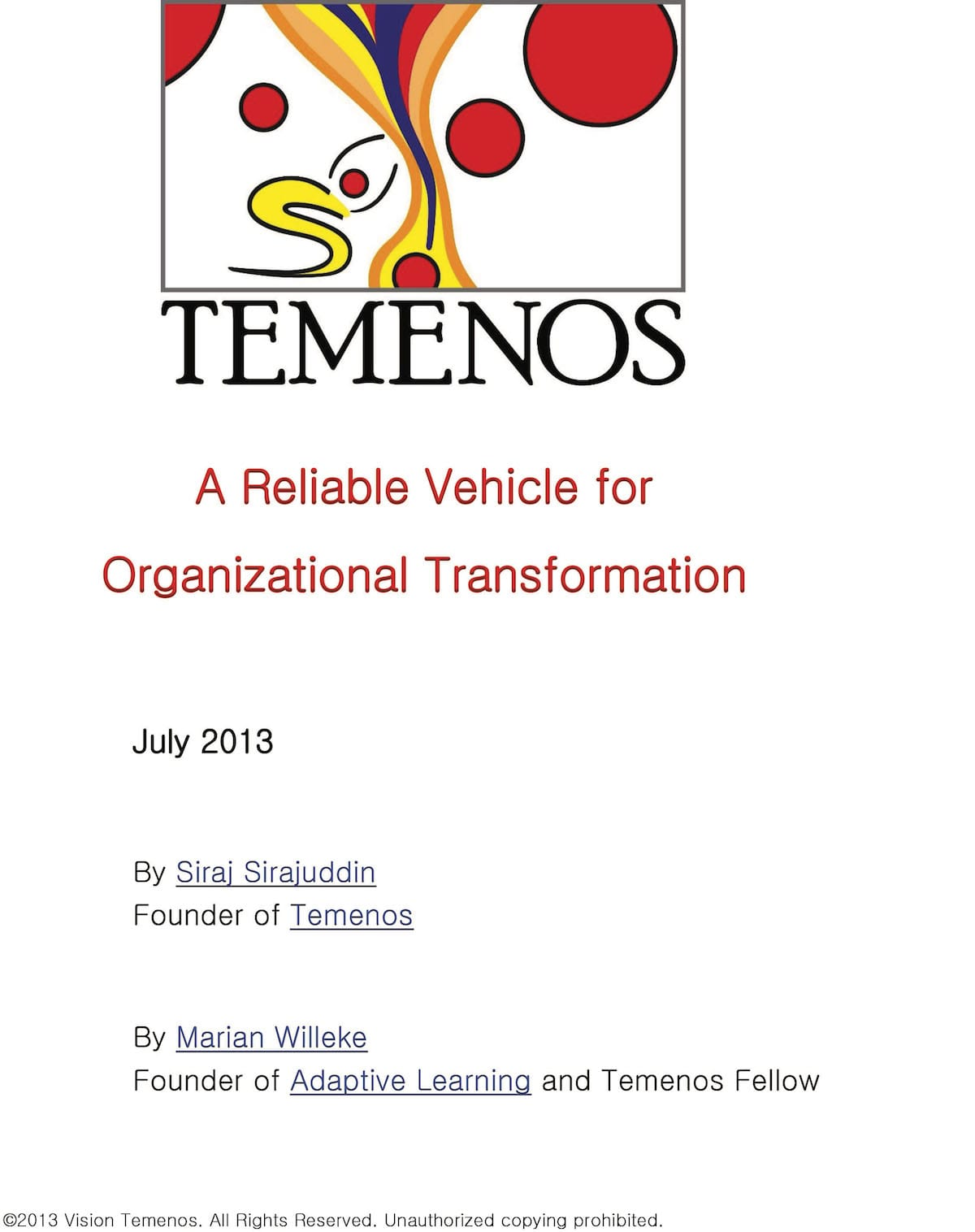 Temenos - A Reliable Vehicle for Organizational Transformation